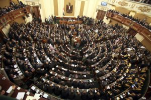 A general view of the first Egyptian parliament session after the revolution that ousted former President Hosni Mubarak, in Cairo January 23, 2012. Egypt's parliament began its first session on Monday since an election put Islamists in charge of the assembly following the overthrow of Mubarak in February. REUTERS/Khaled Elfiqi/Pool (EGYPT - Tags: POLITICS) - RTR2WPY5
