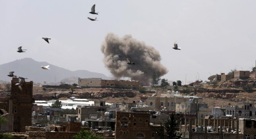 Dust rises from the site of a Saudi-led air strike in Sanaa. REUTERS/Khaled Abdullah